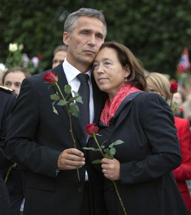 Labour Prime Minister Jens Stoltenberg, pictured with his wife Ingrid at a vigil in Oslo, has called on politicians to think about what they say in the wake of the 22 July attacks