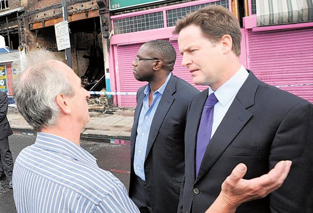 Nick Clegg talks to Tottenham residents after the recent riots