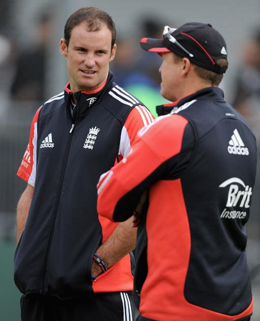 Strauss and Andy Flower pictured during training earlier today