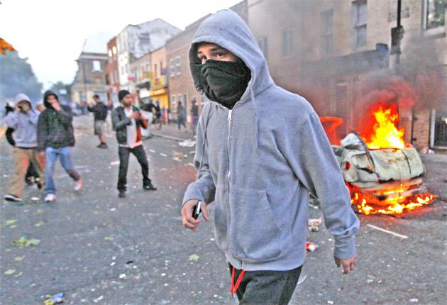 The battle for Britain: rioters in Hackney, east London on Monday