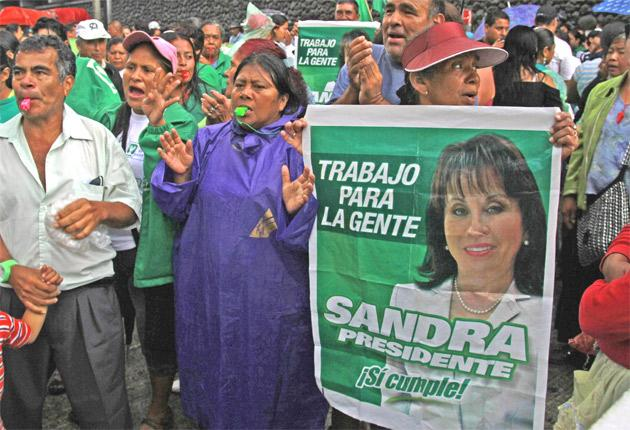 Sandra Torres addresses supporters of her National Unity of Hope Party outside the constitutional court, which ruled her divorce was no more than a political ploy