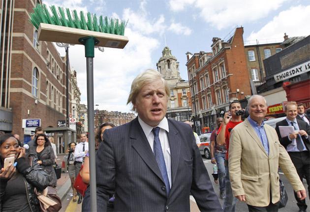 London Mayor Boris Johnson on the streets of Clapham yesterday