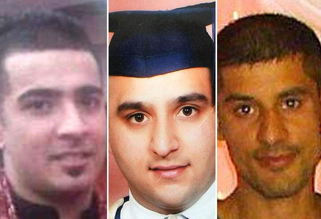 Left to right:  Haroon Jahan, Shazad Ali and Abdul Musavir who died when they were mowed down by a car