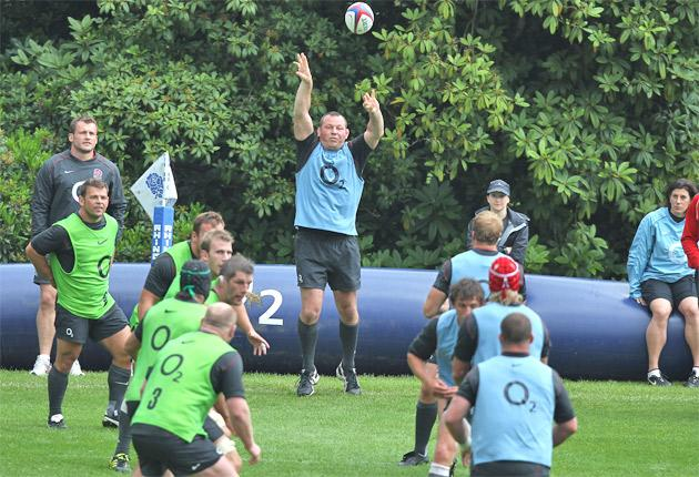 England hooker Steve Thompson practises line-outs at Pennyhill Park