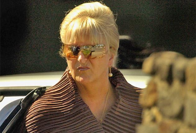 Judy Moran in 2004 at the funeral of her husband