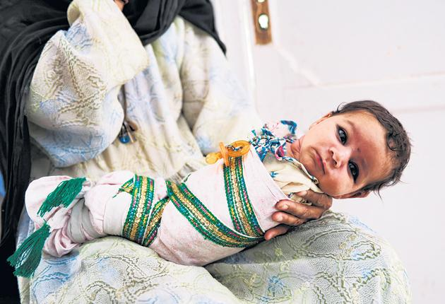 Newborn baby at the Gereshk hospital in Helmand province