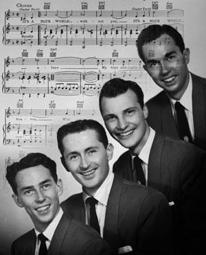 The Four Freshman in 1953: from the left, Ross Barbour, Flanigan, Ken Errair and Don Barbour