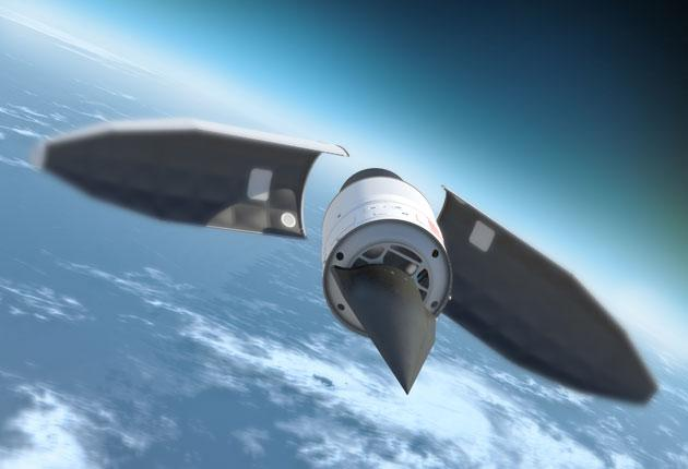 An artist's rendition of the Falcon HTV-2, which is designed to reach speeds of up to 13,000mph