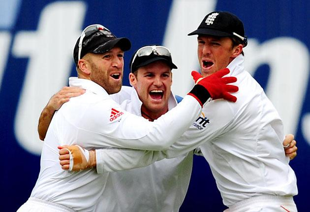 Prior, Strauss and Swann are jubilant in victory