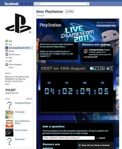 Sony PlayStation Facebook Page