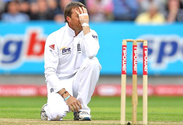 Graeme Swann can't believe his luck as an appeal for lbw goes against him at Edgbaston