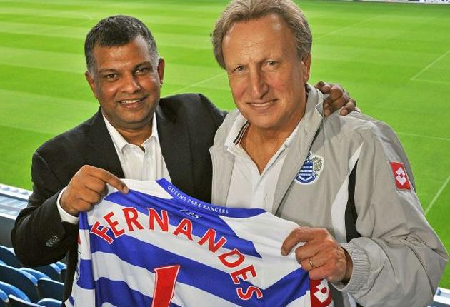 QPR's new owner Tony Fernandes (left) and manager Neil Warnock at Loftus Road