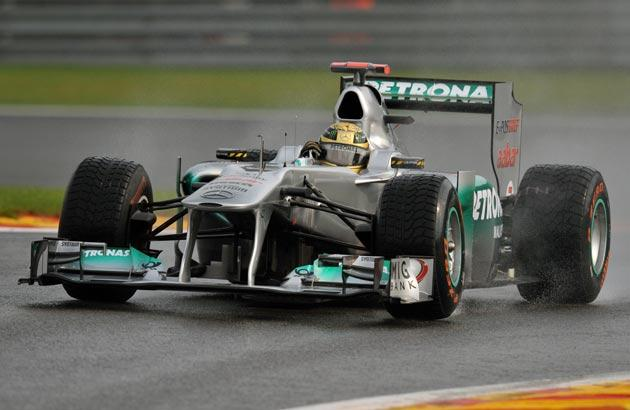 Schumacher was fastest in the wet conditions