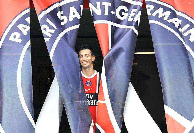 Javier Pastore makes his bow at the Parc des Princes after signing for Paris St-Germain for £37m earlier this month
