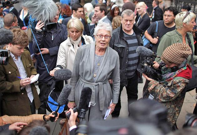 Vanessa Redgrave arrives at the High Court to lend her support to the Dale Farm community fighting for survival