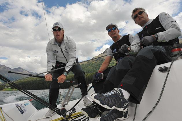 GAC Pindar skipper Ian Williams (left) with crew Bill Hardesty (centre) and Gerry Mitchell (right)are running hot in the World