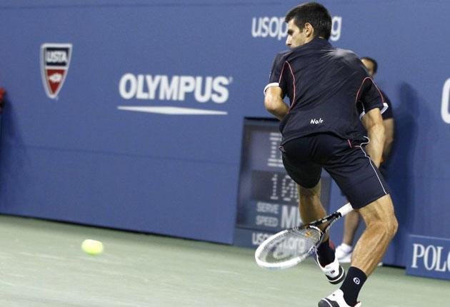 Novak Djokovic completes his three-set demolition of Carlos Berlocq with a 'hot dog' shot between his legs