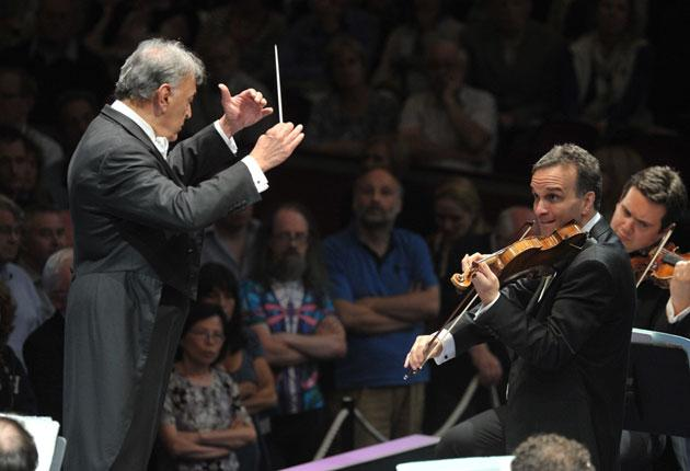 Zubin Mehta conducts at the concert disrupted by a pro-Palestinian group