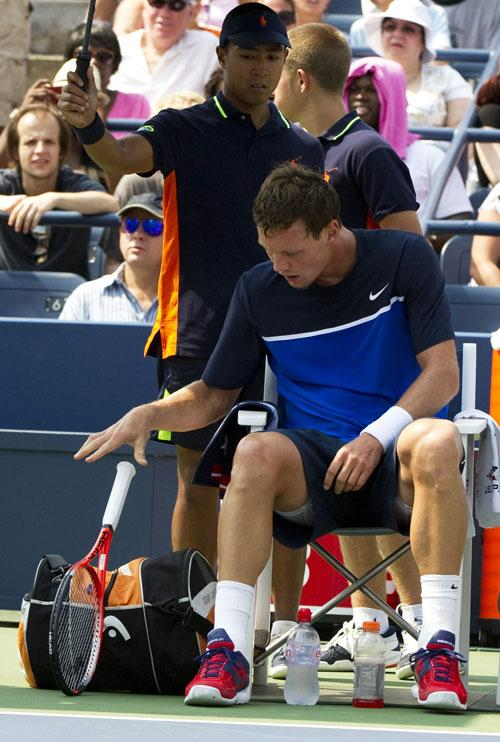 Tomas Berdych's frustration is clear after his withdrawal against Janko Tipsarevic in New York yesterday