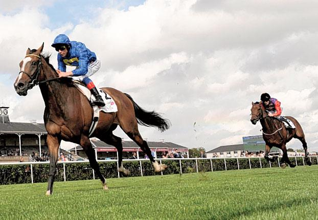 Meeznah gallops clear to land the Park Hill Stakes at Doncaster yesterday