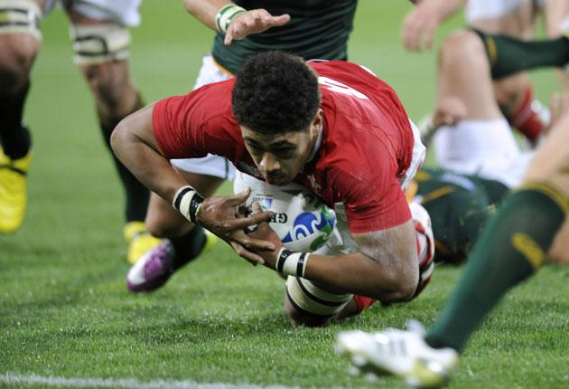 Wales No 8 Toby Faletau goes over for his try against South Africa yesterday