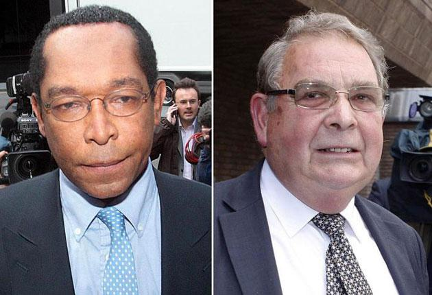 Lord Taylor of Warwick (left) and Lord Hanningfield were freed from prison today
