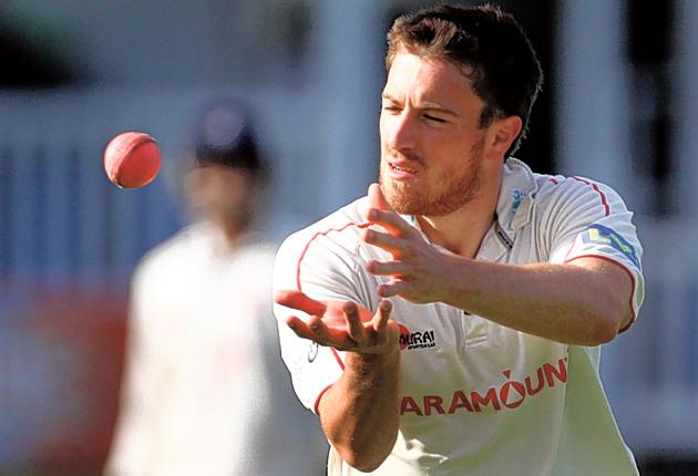 Glamorgan's Will Owen practises with a pink ball against Kent yesterday