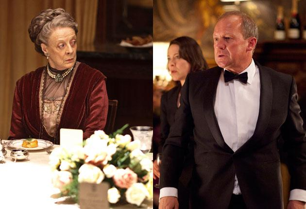 Dame Maggie Smith as Violet in Downton Abbey; Peter Firth as Harry Pearce in Spooks