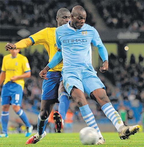 Mario Balotelli scores Manchester City's second goal last night