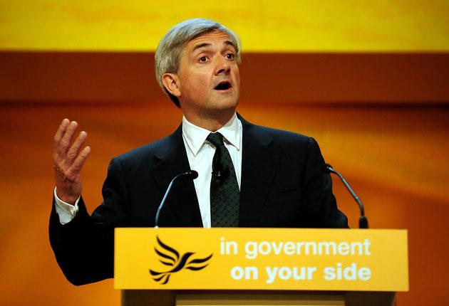 Chris Huhne addresses the Liberal Democrat conference