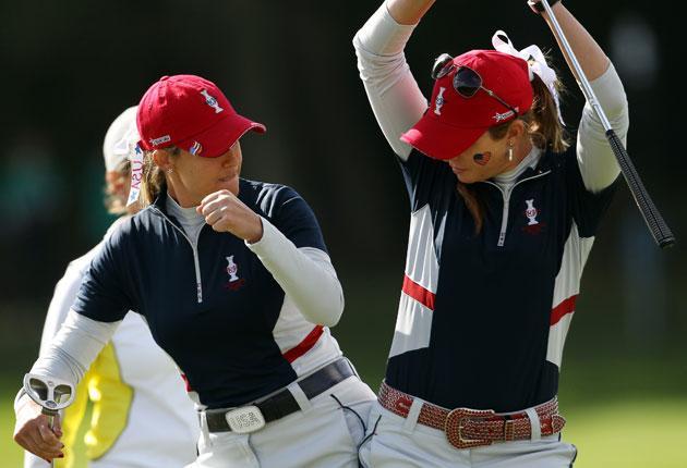 Paula Creamer (left) and Cristie Kerr celebrate a US birdie on 17
