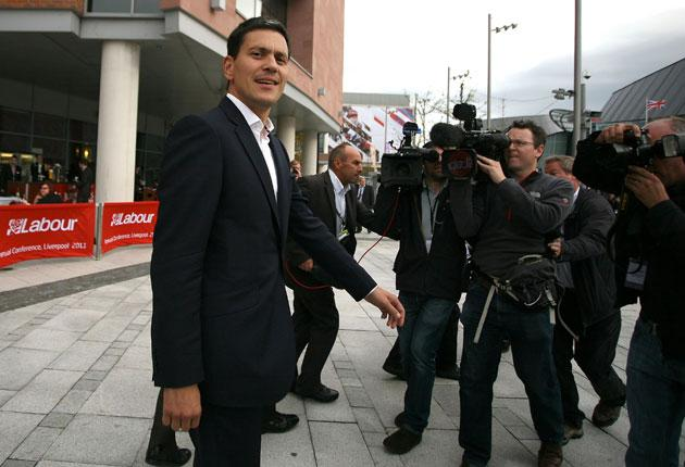 David Miliband arrives at the conference centre in Liverpool