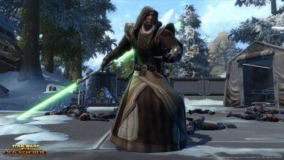 Striking a Jedi pose in 'Star Wars: The Old Republic'