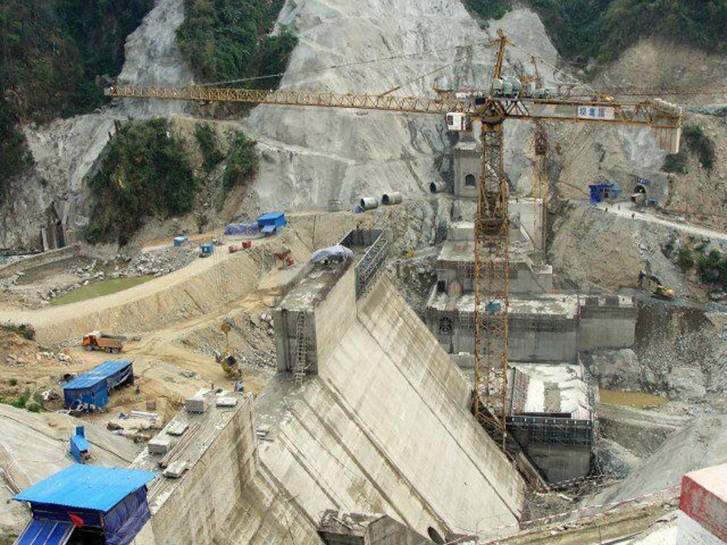 The Myitsone hydro-power dam under construction on the Irrawaddy river