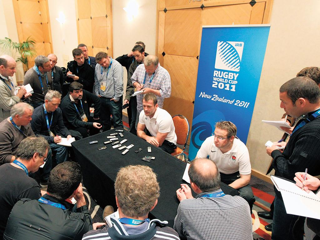 Mark Cueto plays down England's off-field behaviour to the press yesterday