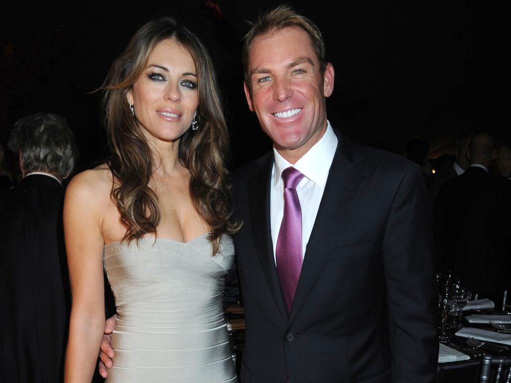 Elizabeth Hurley and Shane Warne: The former international cricketer is virtually unrecognisable in his new guise