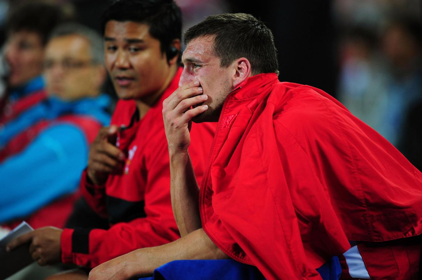 Distraught Wales captain Sam Warburton reacts after receiving a straight red card for a dengerous tackle on Vincent Clerc of France during semi final one of the 2011 IRB Rugby World Cup between Wales and France at Eden Park on October 15, 2011 in Auckland