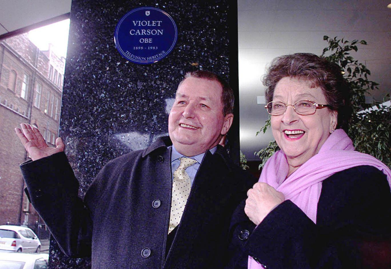 Coronation Street creator Tony Warren and Betty Driver at the Granada studios in Manchester unveiling a blue plaque in memory of Coronation Street legend Violet Carson. The actress who played barmaid Betty Turpin in the ITV soap for 42 years has died toda