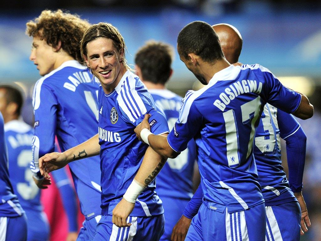 Torres celebrates after scoring last night