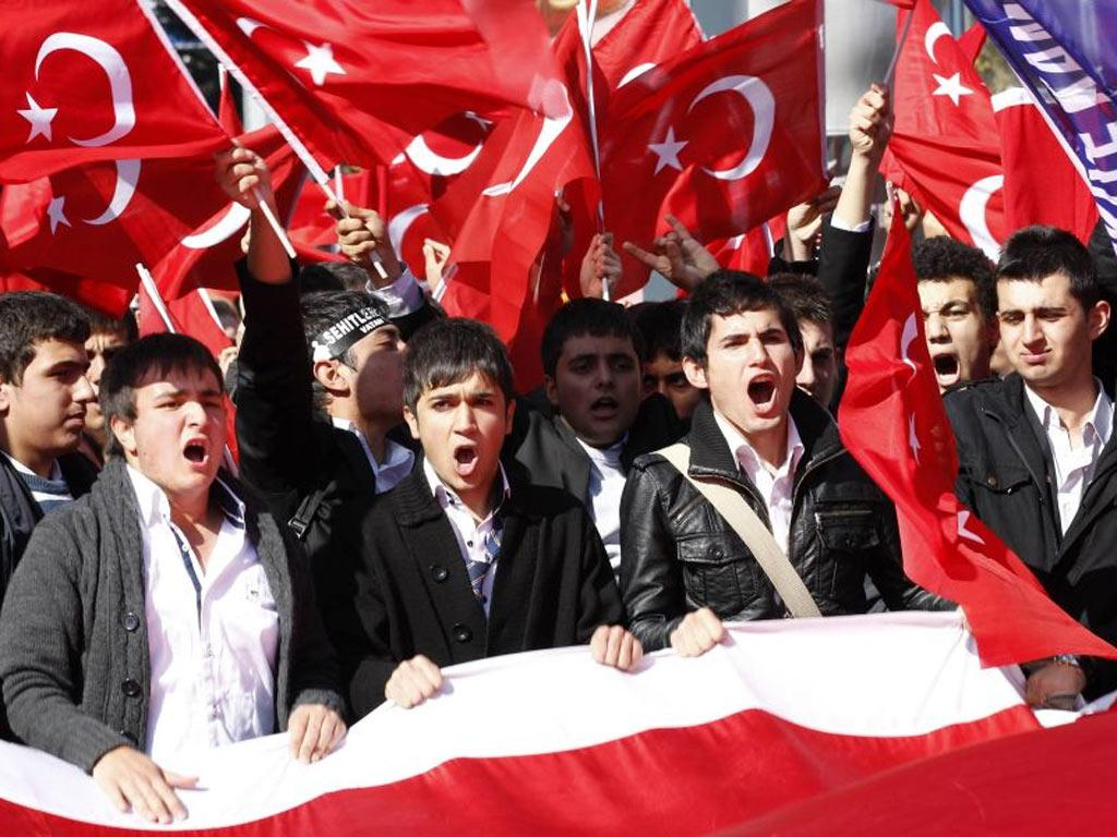 Protesters in Ankara yesterday hit out at attacks on Turkish troops