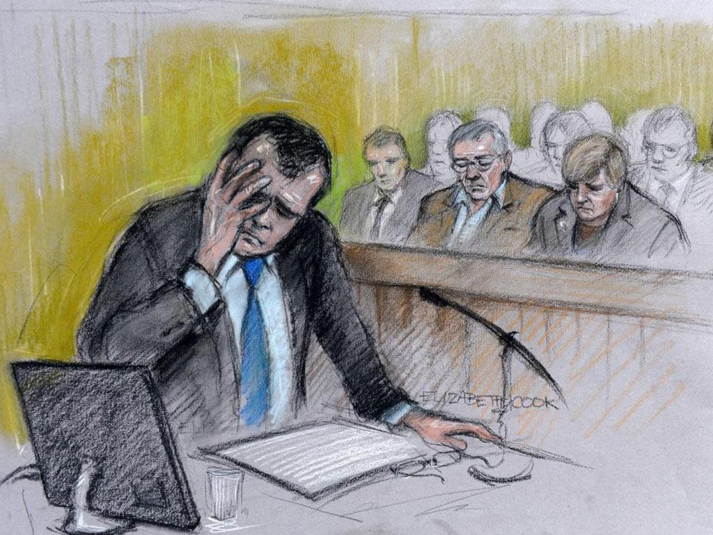An artist's sketch of Vincent Tabak at Bristol Crown Court