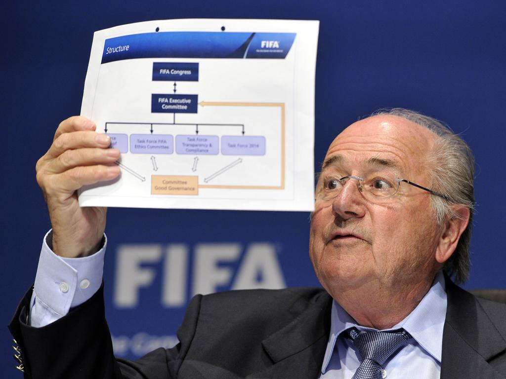 Sepp Blatter holds up the structure of Fifa's new 'Committee of Good Governance' in Zurich yesterday