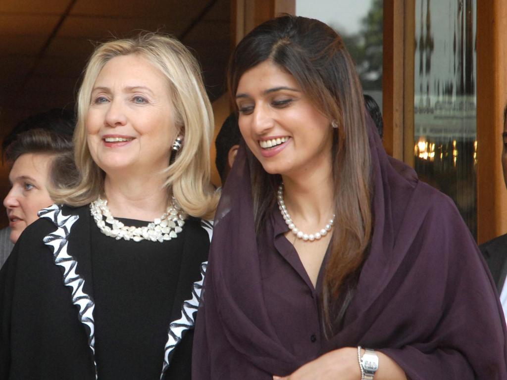 The US Secretary of State, Hillary Clinton, with her Pakistani counterpart, Hina Rabani Khar, in Islamabad