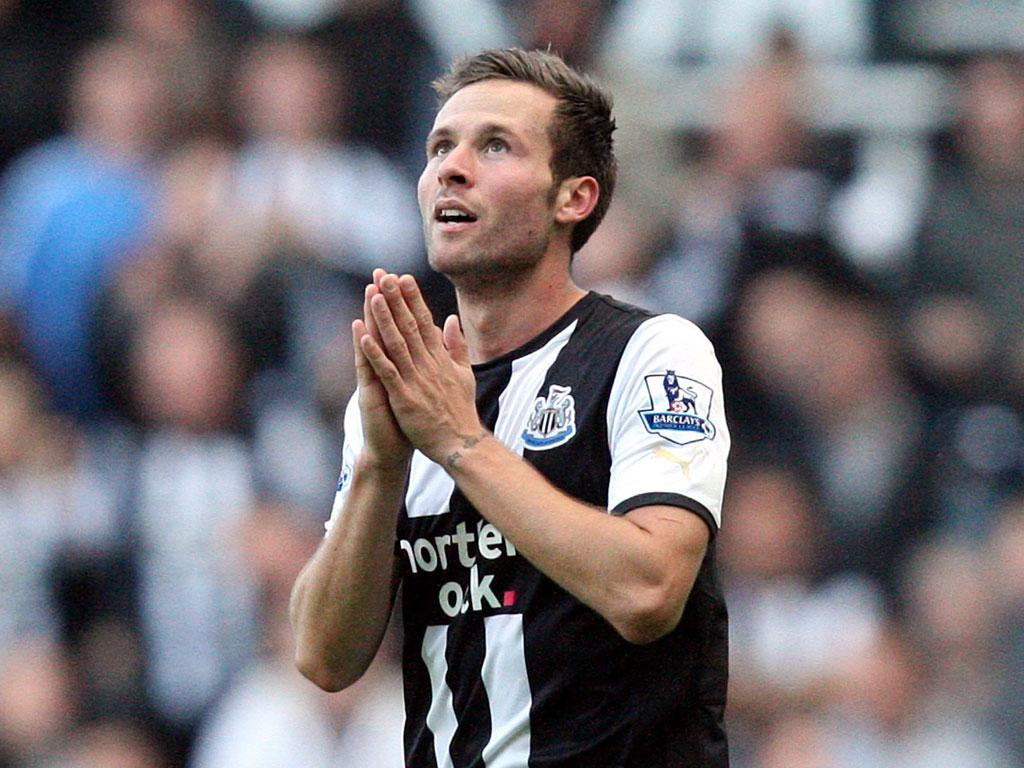 Yohan Cabaye gives thanks for Newcastle's late winner