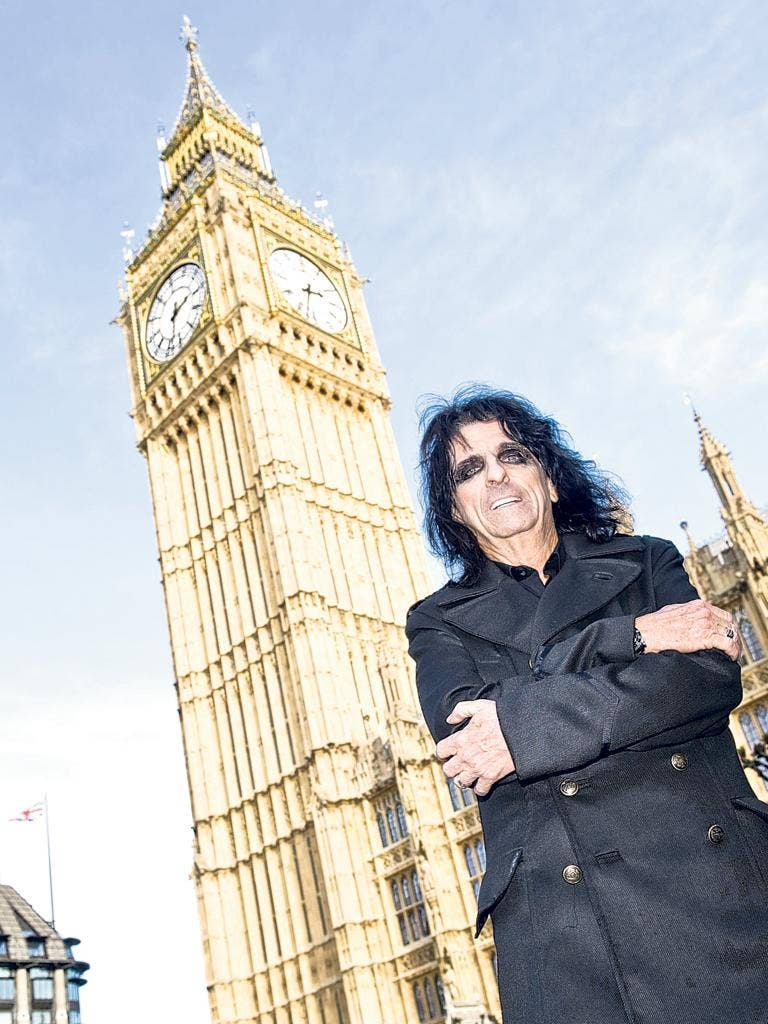 Alice Cooper was at the Houses of Parliament in London yesterday to sign up as a patron of the Rock the House music competition run by the Tory MP Mike Weatherley. Rock the House is an annual contest which promotes live music and awareness of intellectual