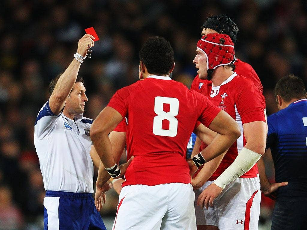 <b>15 OCTOBER</b><br/> <b>France 9-8 Wales</b><br/> The Welsh dream is over as they are beaten by France in controversial circumstances. Mike Phillips scores the game's only try, but everyone is talking about the dismissal of skipper Sam Warburton which m