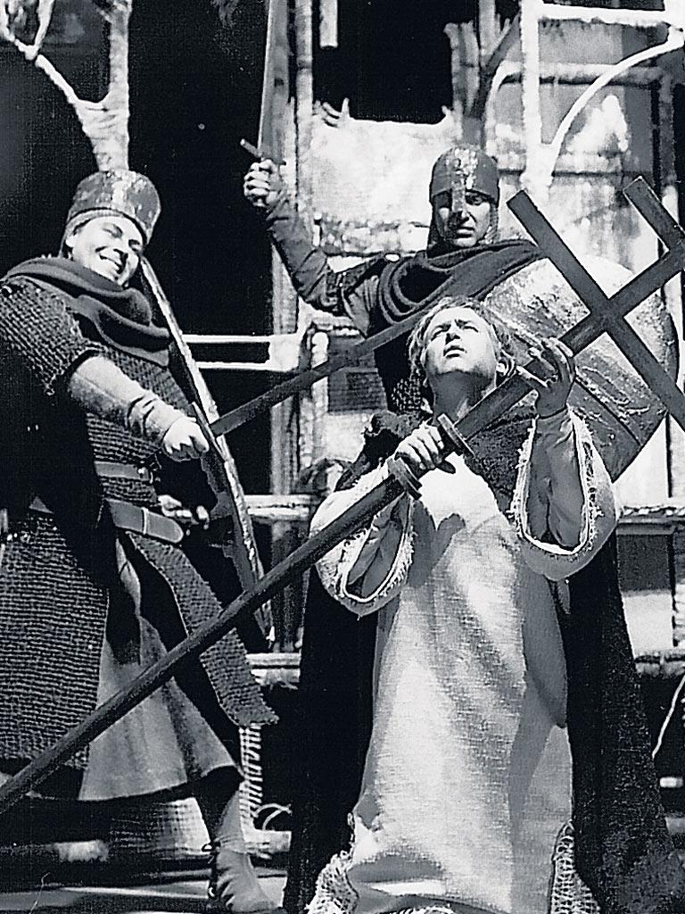 Garrard as Thomas Becket meets his maker in Pizzetti's 'Murder in the Cathedral', at Sadler's Wells in 1962