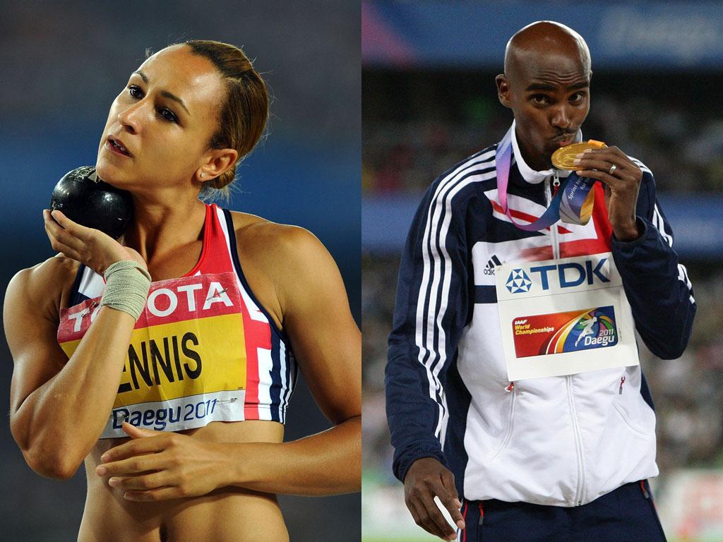 Jessica Ennis claimed heptathlon silver in Daegu while Mo Farah won gold in the 5,000m