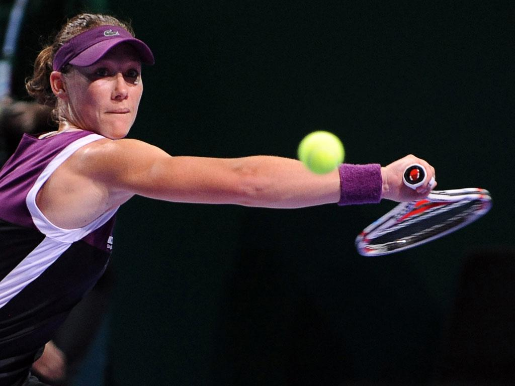 US Open champion Sam Stosur hits a backhand return during her thrashing of Li Na