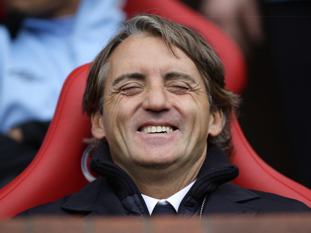 City manager Roberto Mancini enjoys the victory over United